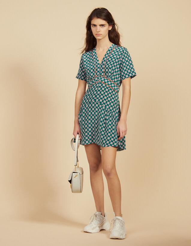 산드로 프린티드 실크 원피스 - 그린 Sandro Short Printed Silk Dress,Green