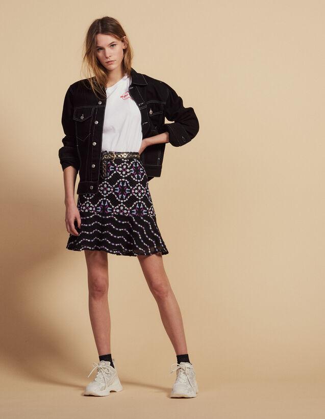 산드로 Sandro Short guipure skirt,Black
