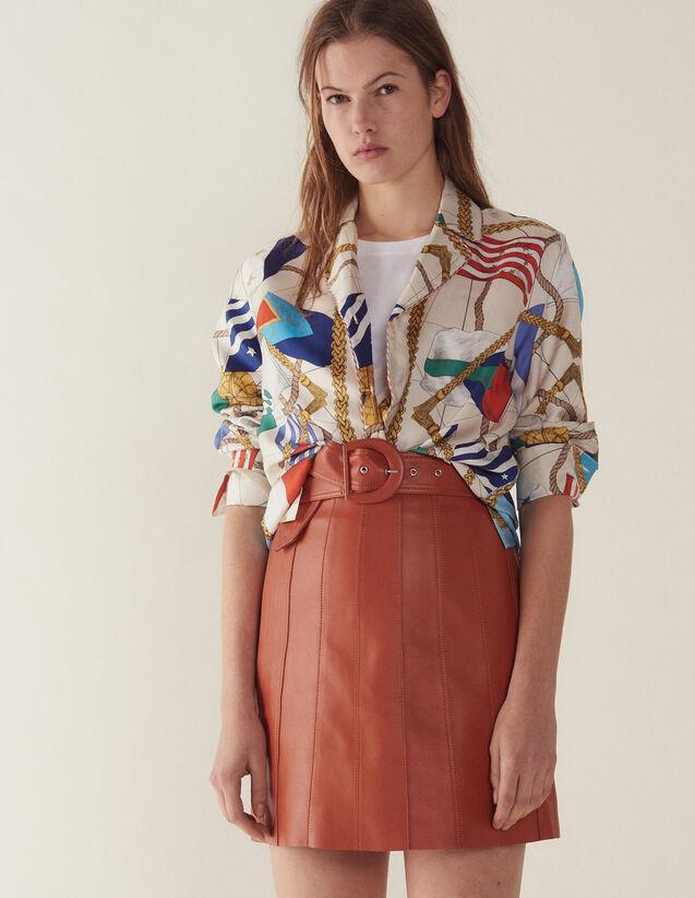 산드로 치마 Ubin 가죽 스커트 Sandro Leather skirt with belt,Caramel
