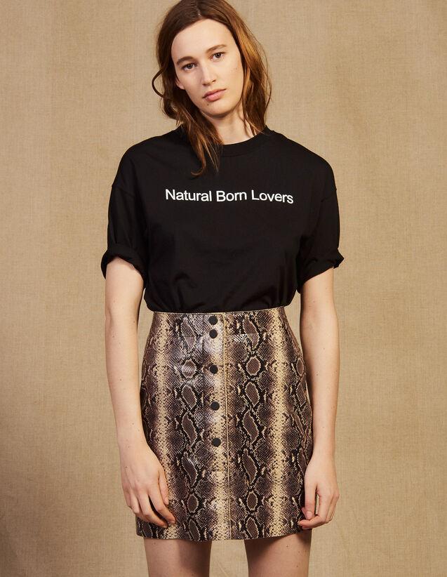 산드로 Imberlay 미니 스커트 Sandro Short python print leather skirt,Python