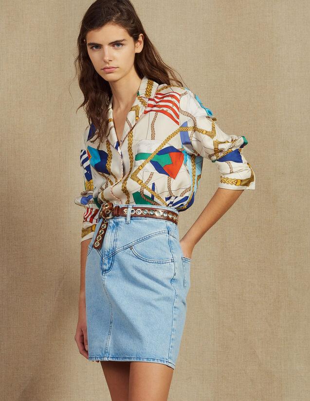 산드로 Sandro Short denim skirt with topstitching,Blue Vintage - Denim