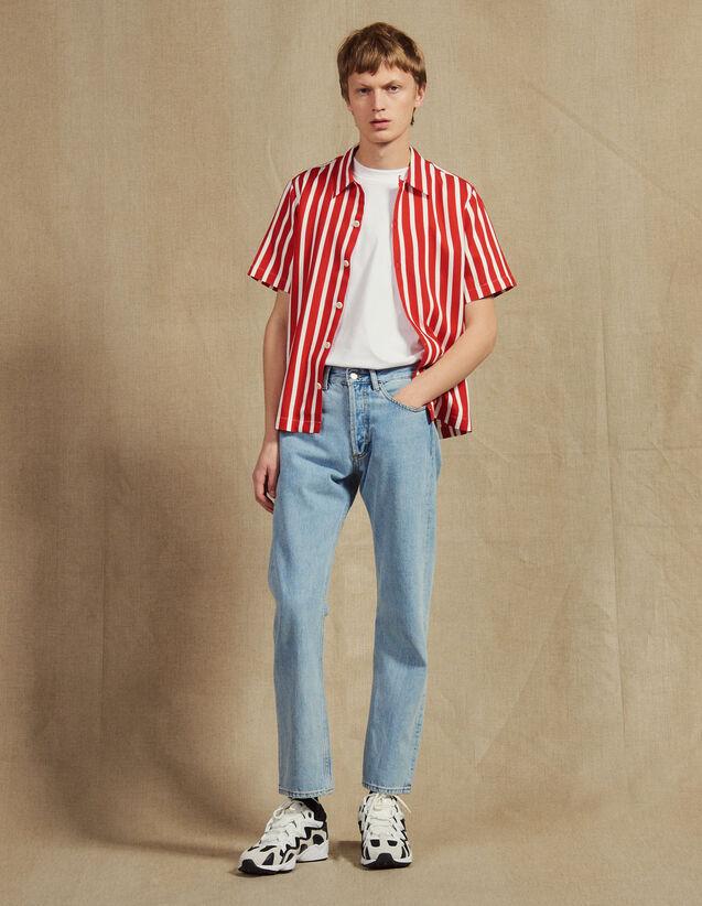 산드로 옴므 Orrento 스트라이프 반팔 셔츠 - 레드 Sandro Orrento Short-Sleeved Shirt With Stripes, Red