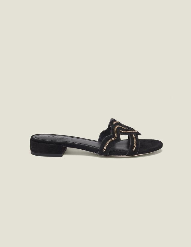 산드로 샌들 Eart Sandro Heart Goatskin Suede Sandals,Black