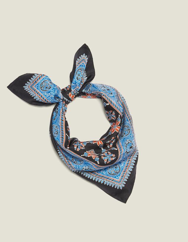 산드로 실크 스카프 Ulan Sandro Printed Silk Scarf,Blue