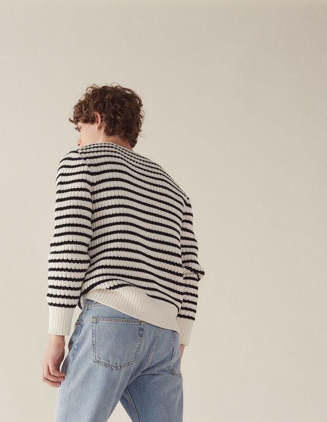 산드로 옴므 Ailor 골지 스트라이프 스웨터 (옹성우 착용) Sandro Ailor Breton sweater with fancy rib,Ecru
