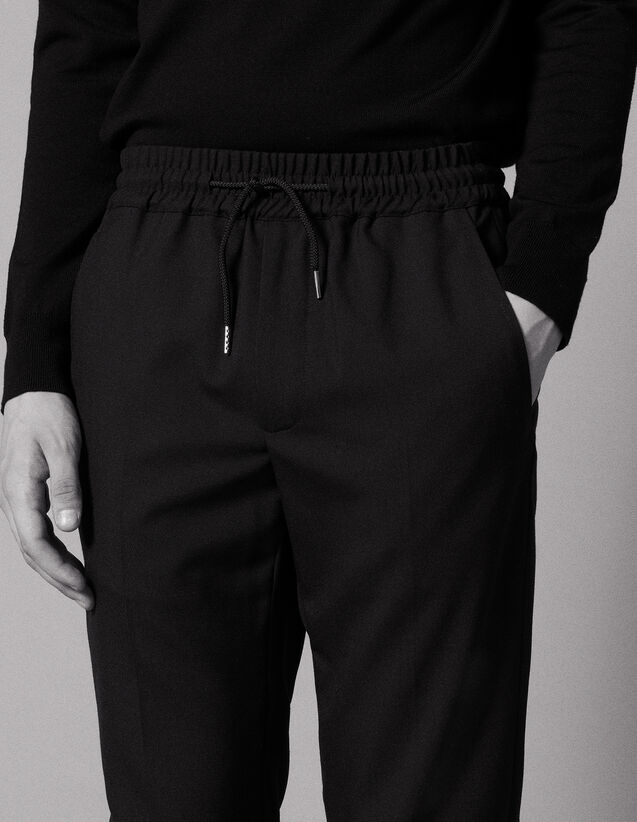 산드로 Sandro Relaxed drawstring waist trousers,Black