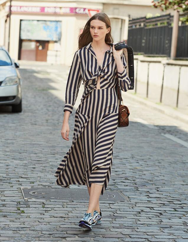 산드로 롱 원피스 Sandro Long dress with striped design,Beige / Blue