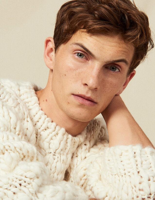산드로 산드로 Sandro Hand-knitted sweater,Ecru