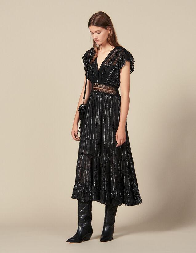 산드로 원피스 Sandro Long Lurex Silk Dress,Black