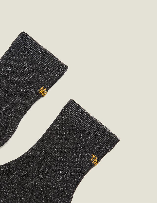 산드로 양말 Ornin Sandro Lurex Embroidered Socks,Black