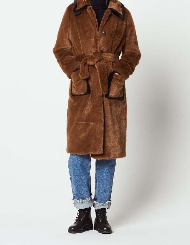 산드로 산드로 Sandro Long faux fur coat,Brown