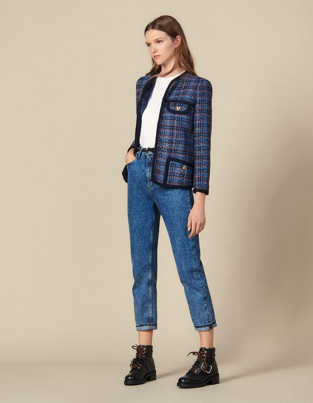 산드로 체크 자켓 Sandro Checked Tweed Jacket,Multi-Color