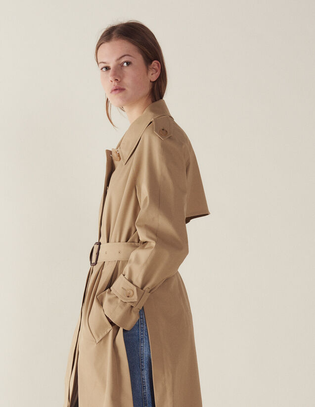 산드로 Ictorine Sandro Belted Trench-Style Coat,Beige