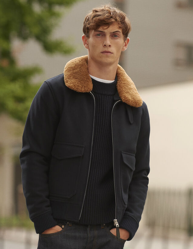 산드로 Sandro Aviator jacket with sheepskin collar,Navy Blue