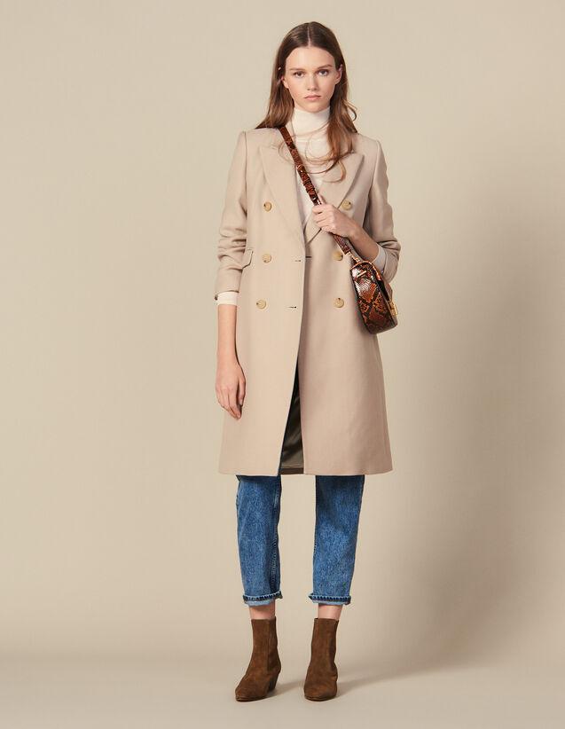 산드로 더블 브레스티드 울 코트 Sandro Double-Breasted Wool Coat,Beige