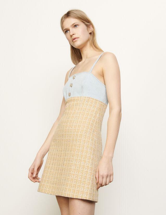 산드로 스트랩 데님 트위드 원피스 Sandro Tweed dress with straps, Beige