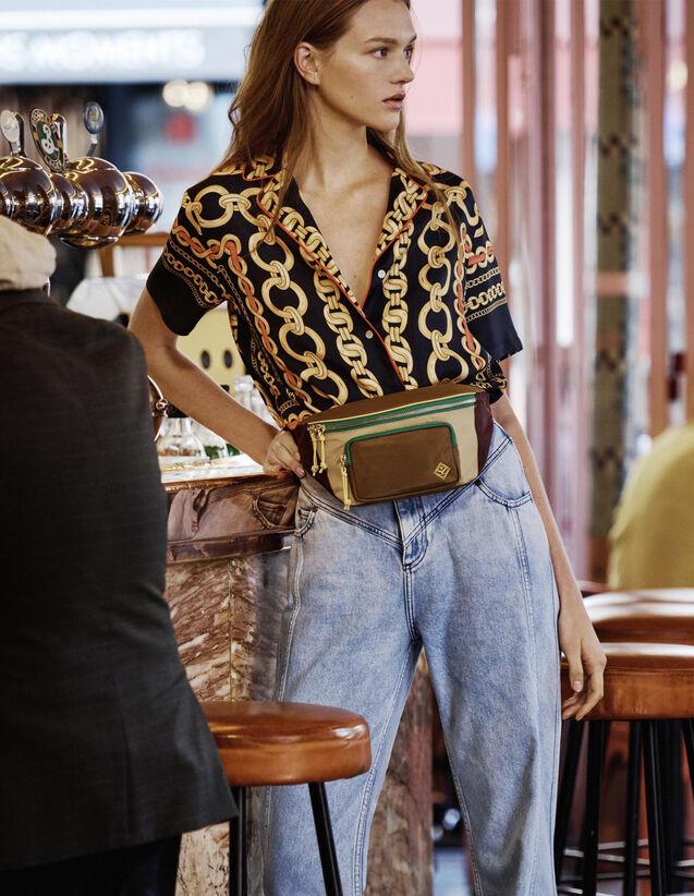 산드로 패니팩 Ndy Sandro Fanny Pack In A Blend Of Materials,Camel