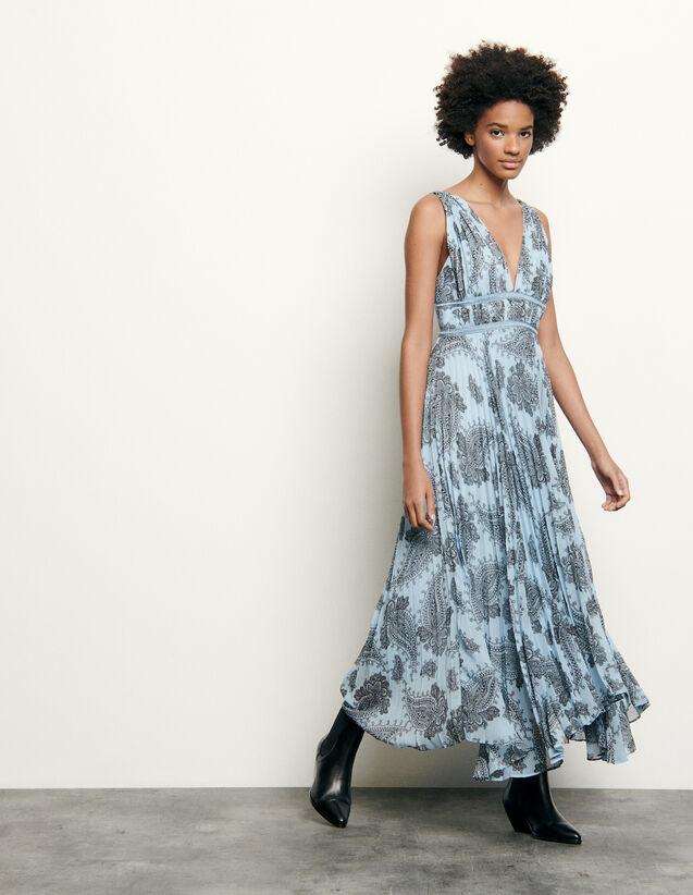 산드로 프린트 롱 시폰 원피스 - 블루 Sandro Long dress in printed chiffon