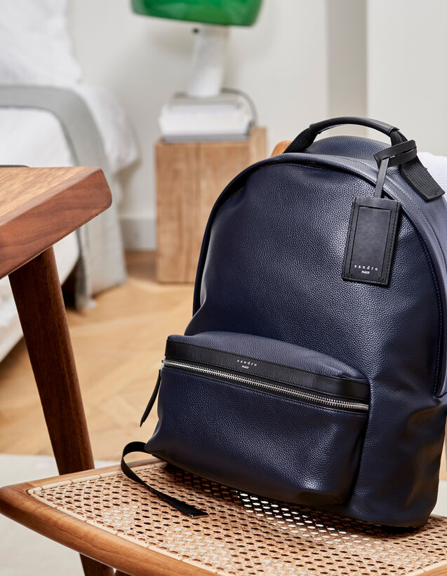 산드로 백팩 네이비 블루 Sandro Coated fabric backpack,Navy Blue