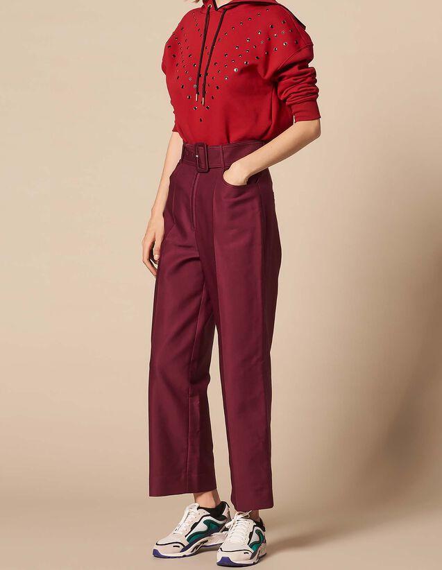 산드로 산드로 Sandro Belted high-waisted trousers,Burgundy
