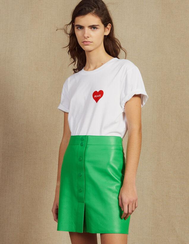 산드로 Ouna Sandro Neon Leather Skirt,Green