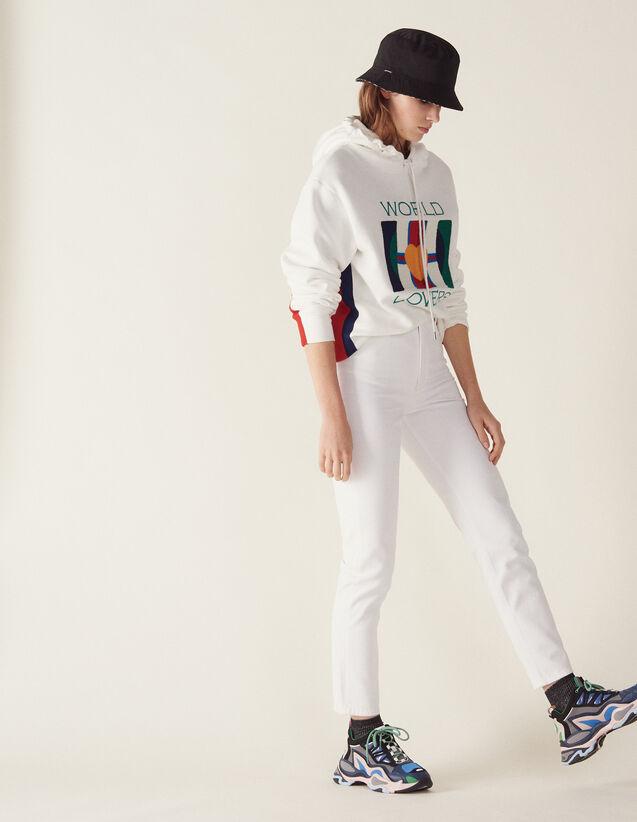 산드로 Sandro High-waisted straight-cut jeans,white