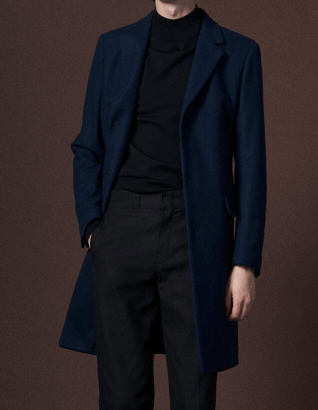 산드로 Sandro Woolcloth and cashmere coat,Blue