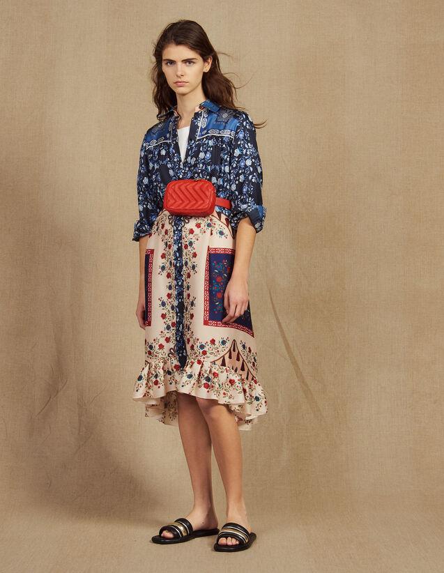산드로 Sandro Mixed Print Shirt Dress,Multi-Color