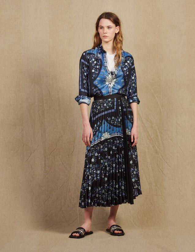 산드로 Sandro Wraparound skirt with sunray pleating,Blue