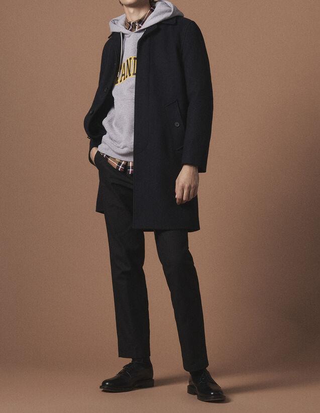 산드로 Sandro Mid-length wool coat,Navy Blue