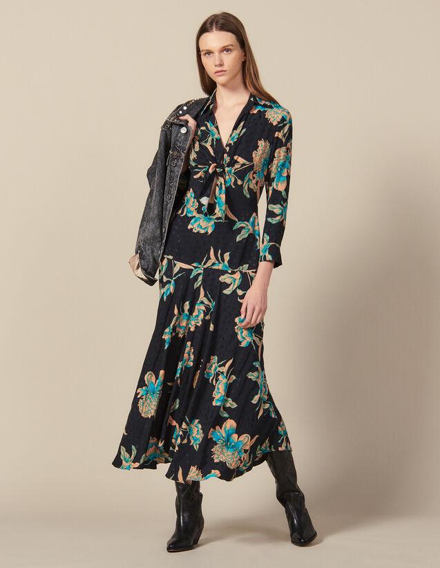 산드로 원피스 Sandro Long printed dress with tie fastening,Black