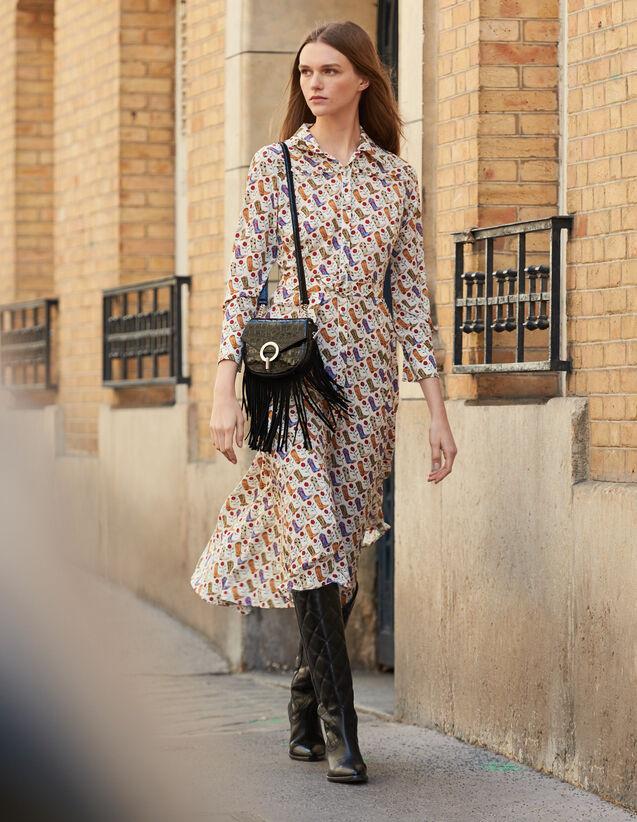 산드로 원피스 Sandro Cowboy boot print shirt dress,Multi-Color