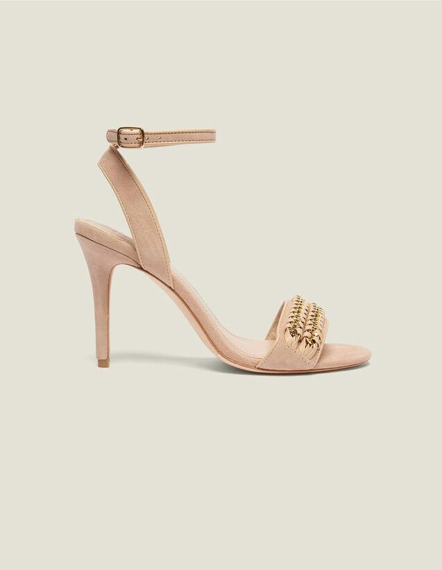 산드로 샌들 Chain Sandro Sandals With Chain Woven Details,Nude