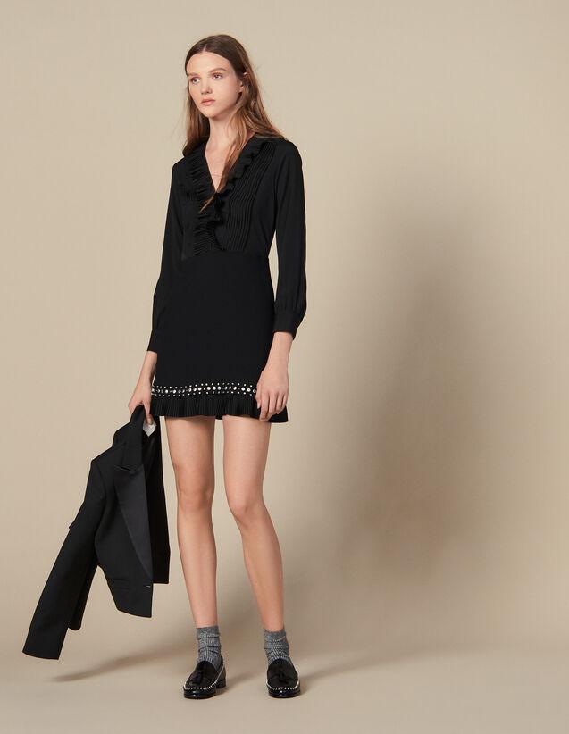 산드로 원피스 Sandro Short Dress With Pleats And Studs,Black