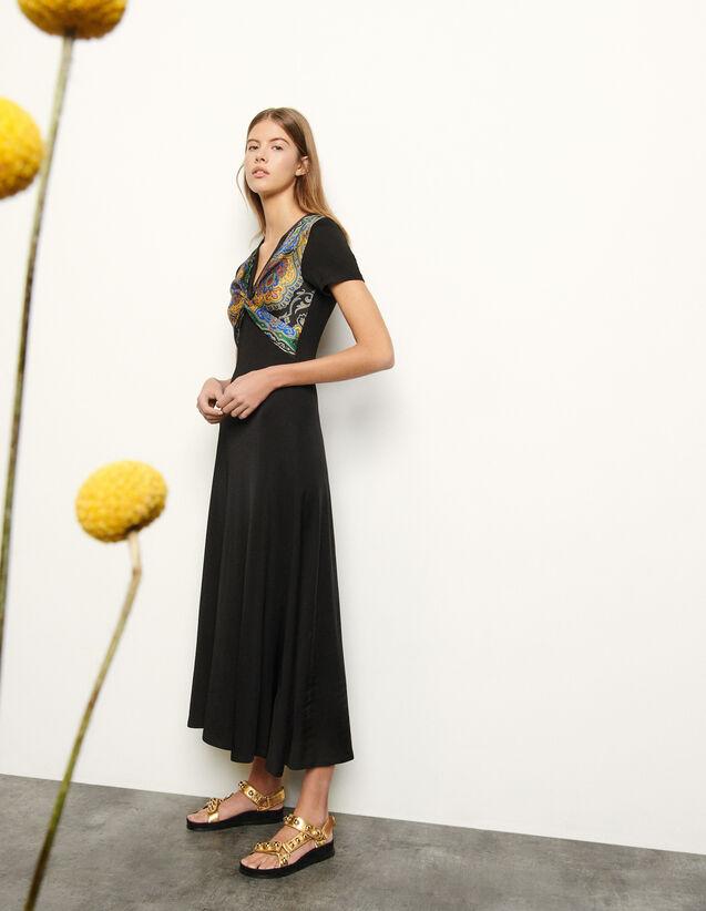 산드로 패턴 꼬임 롱 원피스 - 블랙 Sandro Jersey dress with insert