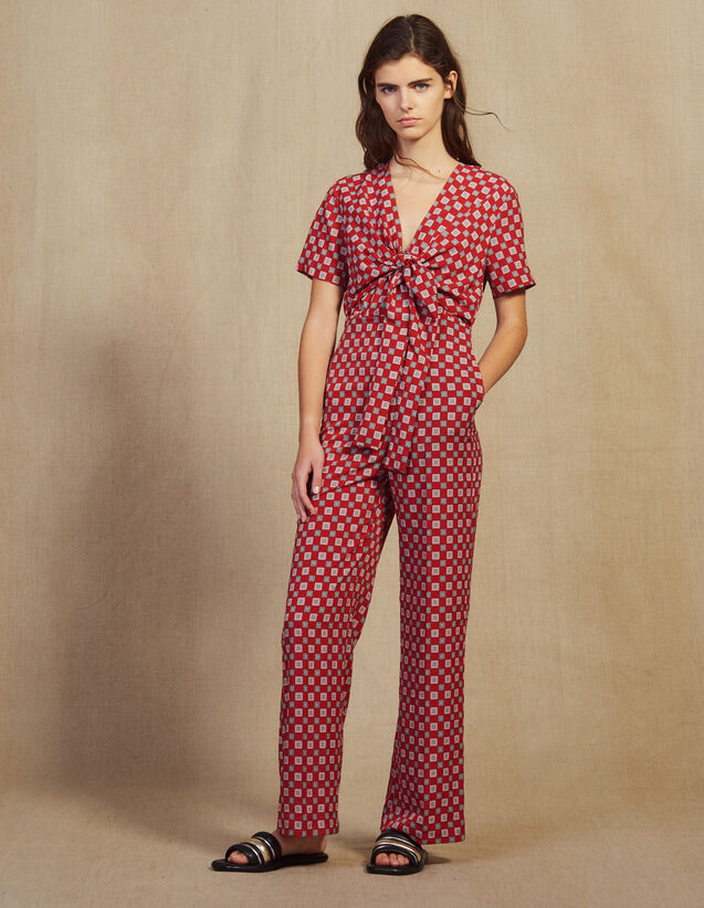 산드로 Asey Sandro Printed Flowing Jumpsuit,Red