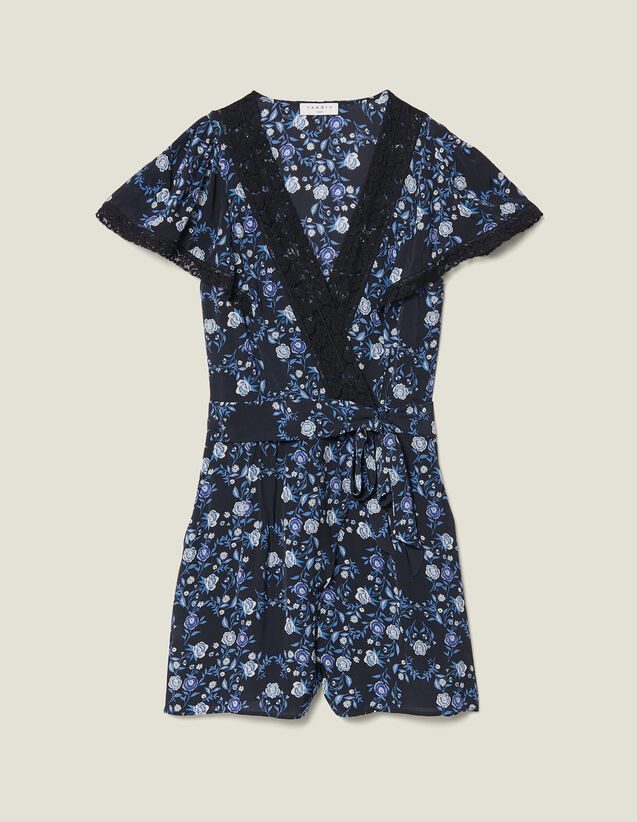 산드로 Aith Sandro Short-Sleeved Printed Playsuit,Blue