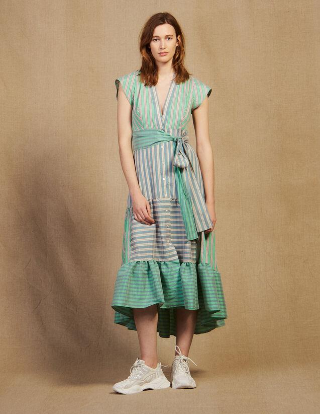 산드로 스트라이프 랩 미디 원피스 - 그린 Sandro Striped Wrap Midi Dress,Green