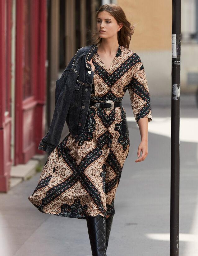 산드로 로우넥 미디 원피스 Sandro Low-neck midi dress with bandana print,Black