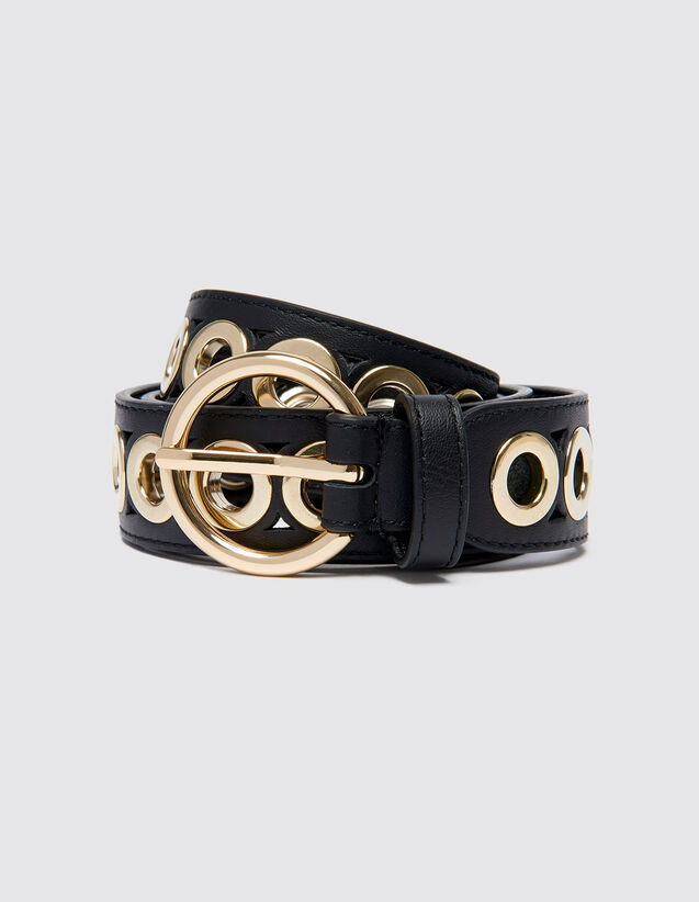 산드로 벨트 Sandro Belt with round buckle and eyelets,Black