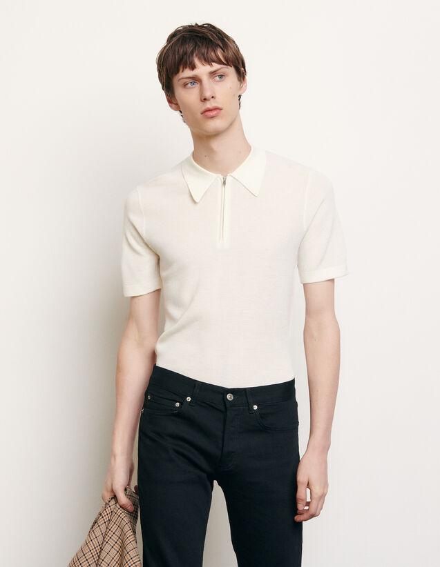 산드로 옴므 니트 폴로 셔츠 (박서준 착용) Sandro Knit polo shirt,Ecru