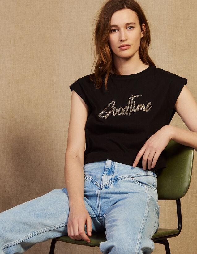 산드로 Ydia 반팔티 Sandro Cropped T-shirt with beaded lettering,Black
