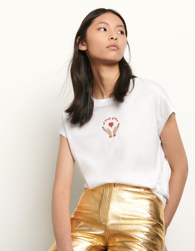 산드로 티셔츠 Sandro Embroidered sleeveless T-shirt,white