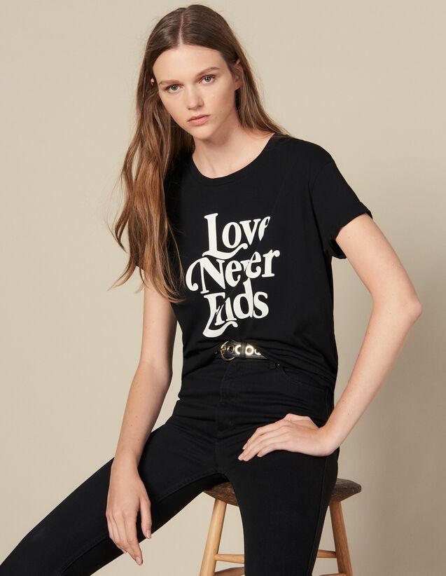 산드로 레터링 티셔츠 Sandro T-Shirt With Contrasting Lettering,Black