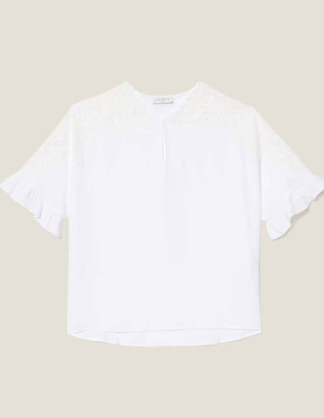 산드로 Wenala Sandro Top With Lace Insert,white