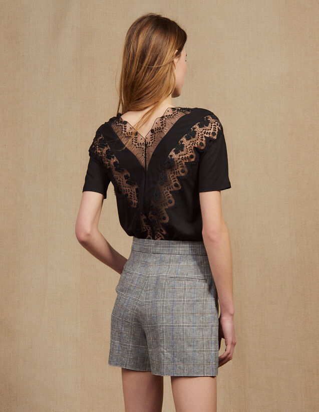 산드로 Oquelicot Sandro Short-Sleeved Lace Top,Black
