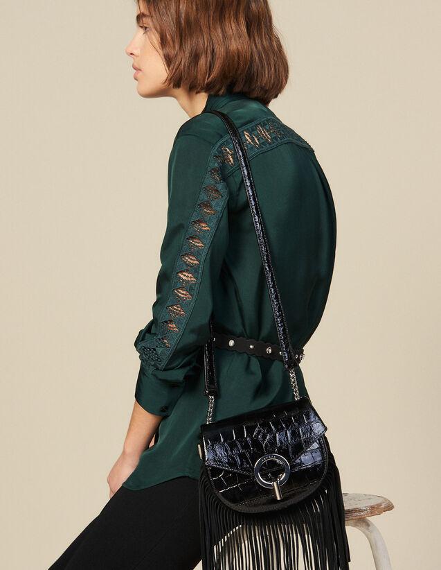 산드로 블라우스 Sandro Blouse With Lace Inset,Green