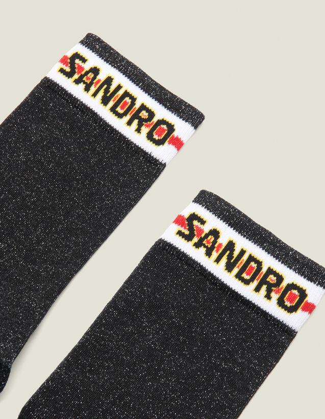 Lurex Socks With 산드로 Sandro Logo,Black