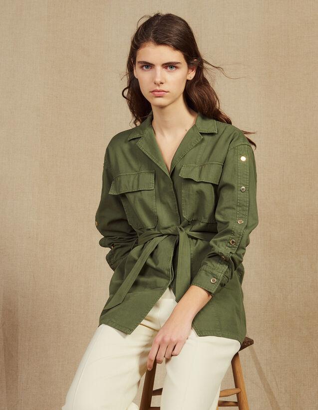 산드로 스터드 벨티드 자켓  - 올리브 그린 Sandro Belted Jacket With Press Studs,Olive Green