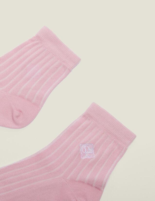 산드로 양말 Ilya Sandro Embroidered Cotton Socks,Rose pastel